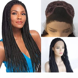 Braided Lace front Wigs with Baby Hair #1B for Women Synthetic Heat Resistant Long Braids Wig Glueless Half Hand Tied
