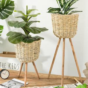 Jardin Décoration Vase sol usine stand Vannerie Pot de fleurs Porte d'affichage en pot rack Décor rustique Cache-pot Fournitures Jardin T200104