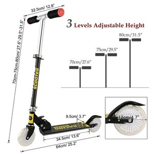 ANCHEER New Aluminum Alloy Kick Scooter Flashing 2 Wheel Scooter Adjustable Height Best Gifts for Children Unisex Foot Scooters