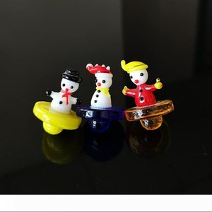 Colored Snowman Glass Carb Cap Christmas Gift Glass Carb Caps For Quartz Banger Nail Oil Dab Rigs Smoking Accessories
