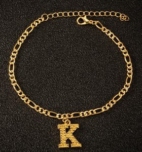 2020 New Fashion A-Z Letters Anklet for Women Initial 26 Alphabet Charm Bracelet Leg Chain Gold Ankle Bracelet Name Jewelry FREE UPS DHL