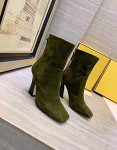 Suede Shoes 19New européenne et cuir américain à tête carrée F talon mode Bottes Chevalier Retour Zipper haut-talons Slim jambes nues Filles Bottes