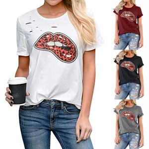 Womens Designer T-shirt d'été marque courte lettre manches léopard rouge lèvres d'impression T-shirt femmes T-shirts T-Hauts chemises 2020 Taille S à 2XL