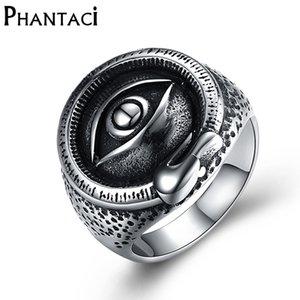 Phantaci Punk-Art-Edelstahl Black Man Ring Augen Muster-Silber-Farben-Qualitäts-Weinlese-Mann-Ring-Schmuck