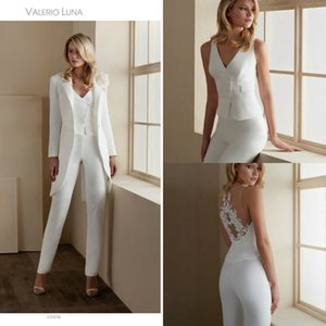 Mother Of The Bride Pants Suit V Neck Appliqued Long Sleeves Hand Made Flower Wedding Guest Gown Ankle Length Custom Made Mother Gown