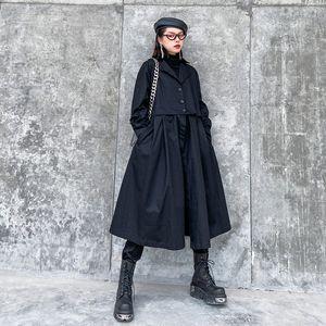 Z-ZOUX Women Trench Coat Black Women Windbreaker Long Sleeve Loose Long Coats Detachable Hem Overcoat 2 Ways Wearing 2020