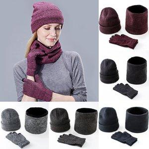 Головные уборы шарфы перчатки Три-Piece Set Мужчины Женщины Зима теплая Сенсорный экран Hat толстый шарф перчатки костюмы Мальчики Девочки Шапочки шарф Set