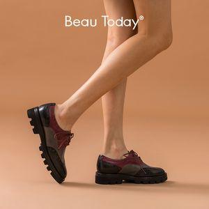 BeauToday Brogue Ayakkabı Kadınlar Hakiki İnek Deri Wingtip Yuvarlak Burun Karışık Renkler Lady Derby Ayakkabı El yapımı 21815