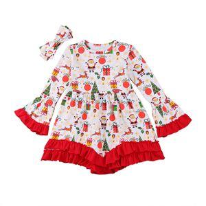 Il nuovo modo di Natale del bambino bambini della neonata maniche lunghe principessa vestito grazioso Tops camicetta fascia Outfits vestiti Set