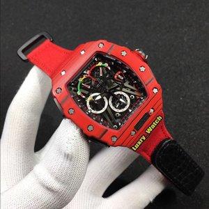 Mejor Edición RM 50-03 01 McLaren F1 NTPT rojo de la fibra de carbono Caso dial esquelético relojes de diseño de Japón VK cronógrafo de cuarzo RM50-03 del reloj para hombre