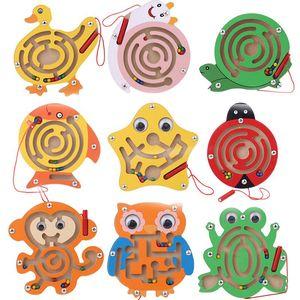 Legno penna magnetica Maze Giocattoli animale sveglio del fumetto Giocattolo Rompicapo intellettuale Jigsaw tavolo Bambini precoce educativo Puzzle Game
