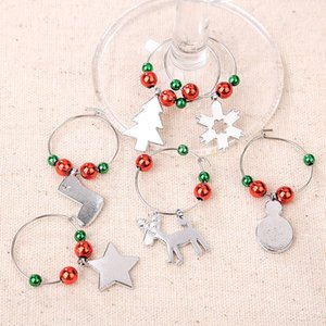 6pcs set Christmas Wine Glass Mark Wine Glass Charms Glassware Ornaments Cup Ring Xmas Pendants Table Decorations Party Supplies