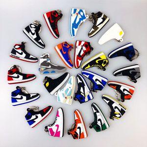 Titular Mini Silicone Sneaker Keychain Mulher Homens Crianças Chaveiro presente Key Shoes encanto do saco Acessórios Basquetebol Chaveiros