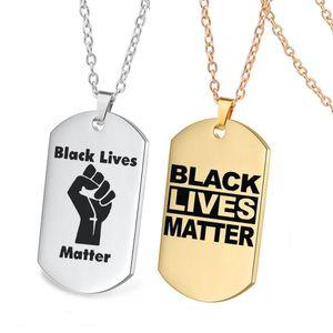 H Nokta ABD Siyah Hayatlar Matter Altın Askeri Kolye Paslanmaz Çelik Köpek Etiket Özel Moq1 Protesto
