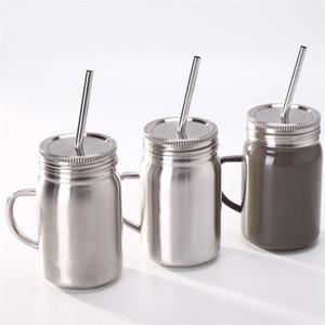 Tazze Mason Jar Tazze in acciaio inox Parete singola esterna portatile con coperchio in paglia e 700ml 16gy F1