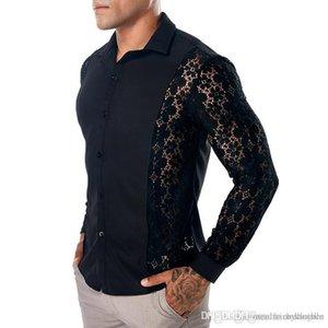 Primavera 19SS para hombre de encaje camisas de verano casual camisa gira el collar abajo Manga larga Tops Tees