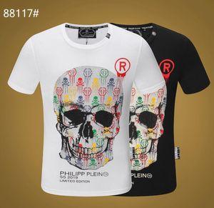 Novos Homens T-shirt Mangas Curtas Crânios de Algodão Imprime Camisetas Em Torno Do Pescoço Fino Tee Homem Moda Pullover Skate Tops 100% algodão G9618