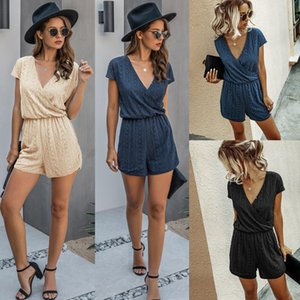 V-neck sexy jumpsuit shorts summer fashion collar lace high waist elastic waist loose slimming jumpsuit