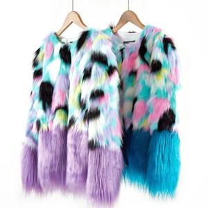 Colorful Brasão Faux Fur Mulheres Joineles Moda Rodada Long Neck mangas largas Waisted Fur Feminino casacos de inverno Streetwear Outwear