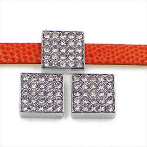 20 шт. / Лот 10 мм кристалл квадратный слайд DIY очарование для 10 мм браслет ремни браслет