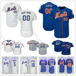 Newyorkmets Custom # 48 JacobdeGrom Jersey Homem de beisebol da mulher Crianças Juventude Jerseys Casa Fora costurado Logos frete grátis