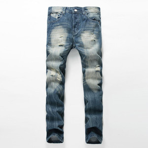 New Arrival Fashion Designer Jean Mens Brand destroyed Jeans Washed hole straight Jeans For Men Cotton Casual Denim Pants