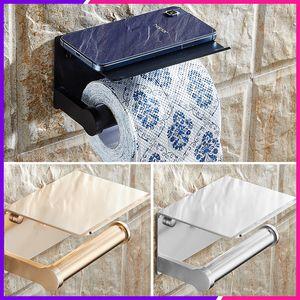 Telefon Raf Tepsi Tutucu ile Telefon Raf Tepsi Raf Uzay Alüminyum Kağıt Tutucu Banyo Kağıt Havlu Askısı Banyo Aksesuarları T200425