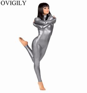Al por mayor-Mujeres Spandex metálico Catsuit Unitard adultos brillantes de lycra manga larga Body unitards Piel Negro traje femenino apretado