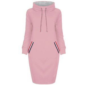Women High Collar Long Hoody Hooded Sweatshirt Long Sleeve Choker Sweater Hoodies Jumper Winter Dress outwear LJJA3303-4