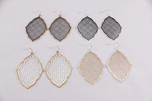 Trendige Mode Frauen Schmuck baumeln Gold filigrane Klee Marokko Magnolia Teardrop Kupfer Metallic Mesh Anweisung Ohrringe