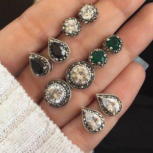 L'Europe et les États-Unis nouvelle tendance 5 paires de bijoux éblouissants bijou noir blanc bleu boucles boho cristal earrings1199