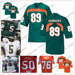 NCAA Miami furacões # 76 Warren Sapp 81 Calais Campbell 82 Greg Olsen 86 David Njoku 87 Reggie Wayne 89 Ted Hendricks Aposentado Jersey