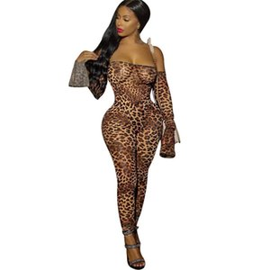 Impresso Leopard Impressão Womens Macacões Verão um ombro Moda Pants Sexy Nightclub Skinny Casual Vestuário 01