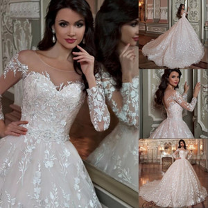 Dubai árabe Robe De Mariee Princesse vestido de bola vestidos de novia 2020 elegante apliques de encaje brillante rebordear cristal cintura vestidos de novia