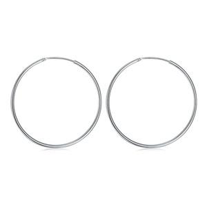 Überzogene sterlingsilber glänzende runde ohrring djse42 größedurchmesser 5,0 cm; brandneue frauen 925 silber platte hoop huggie schmuck ohrring