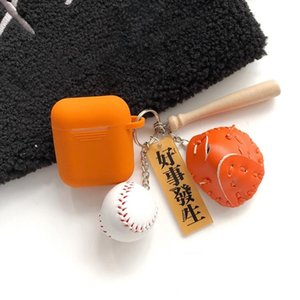 For Airpods Wireless Earphone Silicone Protective Case with Key Ring & Baseball Pendant