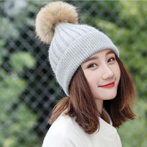 Moda mulher Pompom Bola Chapéu Cor Sólida Inverno Quente Malha Chapéus Clássico Ao Ar Livre Ski Beanie Cap TTA1699