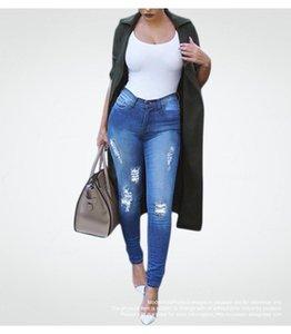 New Plus Size Ripped Fading Jeans Women`s True Denim Skinny Distressed Jeans for Women Jean Pencil Pants Drop Shipping