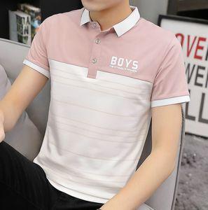 2020 Erkek Short Sleeve colorblock Tişört Pamuk Yaka Polo Gömlek Yeni Yaz Erkekler