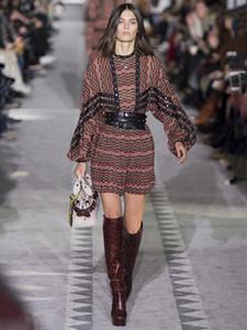 Strim Patchwork Bohemian imprimé géométrique robe des femmes piste plissés robes Catwalk