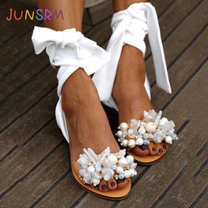 Zapatos de JUNSRM 2020 mujeres de las sandalias hechas a mano sandalias planas de la correa del tobillo con cuentas Mujeres especial del tamaño de playa y de 35-43