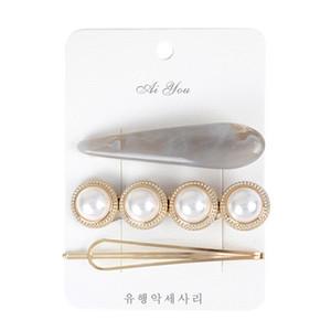 Satış Kore Vintage Imitiation Inci Saç klipler Moda Saç Aksesuarları Altın Metal Minimalist Geometrik Düzensiz Tokalar 10 çift / 30 adet