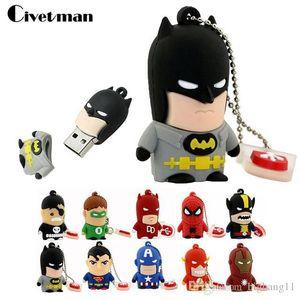 Multi estilos Cartoon Super Hero USB Flash Drive 8GB 16GB 32GB 64GB Iron Man Memoria Flash Batman Pendrive Captain America Pen Drives