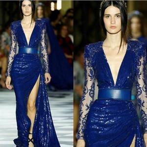 Zuhair Murad Royal Blue Sequined Вечерние платья Русалка Иллюзия с длинным рукавом бедренной кости высокие щелевой кружева платье мантиях де soirée