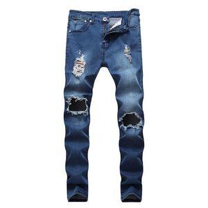 Mens Jeans jeans lavati pantaloni della matita Primavera Magro Uomo sportivo Pantaloni a vita bassa Hole