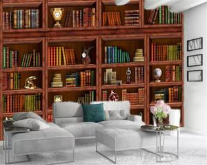 Vente en gros Photo Wallpaper haut de gamme des livres atmosphériques d'étagère en bois Impression numérique HD décorative Belle Fond d'écran