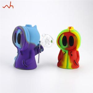 Único silicone tubo bubbler fumar projeto da máscara Santo hookah shisha bong tubo de fumar Mini para Stoner