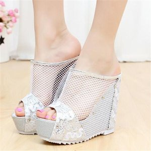 2020 New Summer Net yarn High heels Women Slippers 12CM Wedges Platform Slippers Lace Increase Peep Toe Shoes Feminina Chaussure