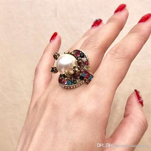 Europe and America Fashion Women Ring Gold Plated Colorful CZ Pearl Ring Nice Gift for Girl Friend