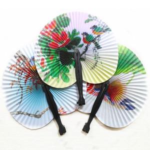 Chinois poche pliante ronde Fan fleur vintage papier d'impression Fan de mariage Party Decoration Fancy Femmes Dancing Girls Fan BH2208 TQQ
